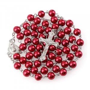 Ruženec s menom červený perlový