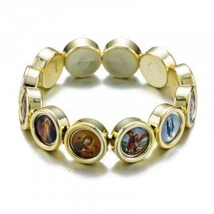 Náramok-ruženec so svätými obrázkami zlatý