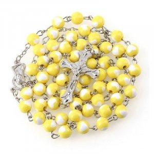 Ruženec žltý s bielymi srdiečkami