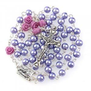 Ruženec fialový perlový s fialovými ružami