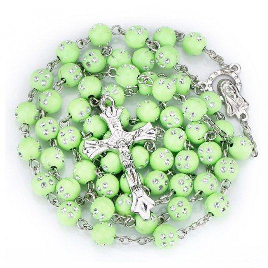 Ruženec s menom zelený korálkový