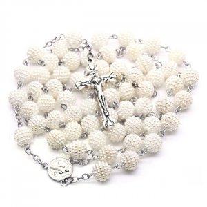 Ruženec s menom biely perlový vzorový