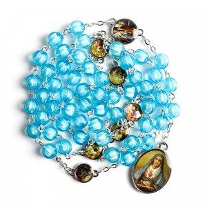 Ruženec s menom k Sedembolestnej Panne Márii tyrkysový