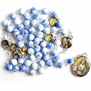 Ruženec s menom k Sedembolestnej Panne Márii modrobiely