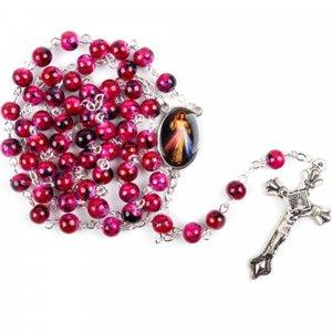 Ruženec s menom s medailou Božieho milosrdenstva ružový