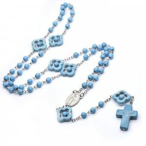 Ruženec s menom s medailou zázračnej Panny Márie tyrkysový