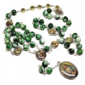 Ruženec s menom k Sedembolestnej Panne Márii zelenobiely