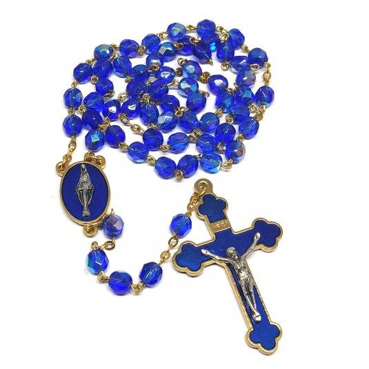 Ruženec s menom svadobný sklenené korálky modrý