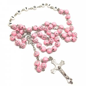 Ruženec s menom ružový korálkový