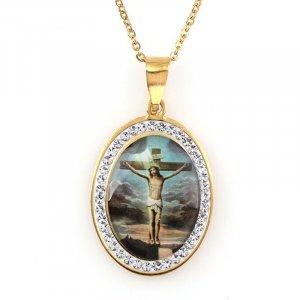 Zlatý medailón Ježiš na kríži