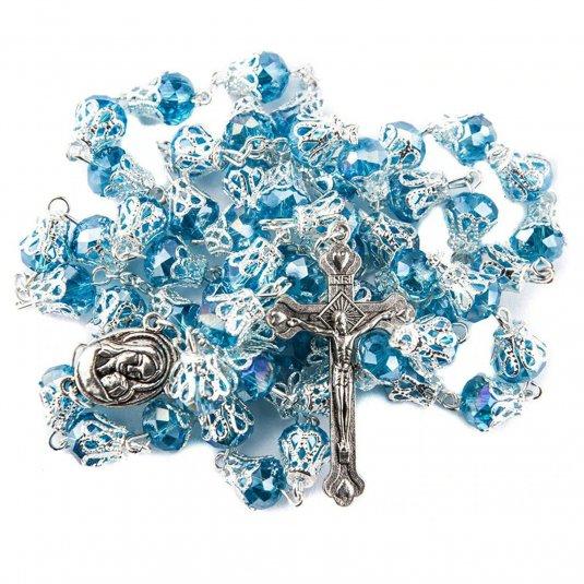 Ruženec s menom modrý so zdobením