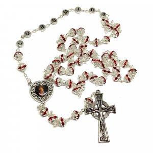Ruženec s menom s červenými krištáľmi strieborný Exkluziv