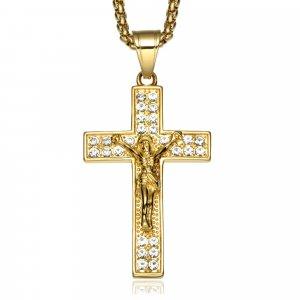 Zlatý krištáľový prívesok kríž Ježiša Krista