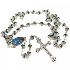 Ruženec s menom s modrými krištáľmi strieborný Exkluziv
