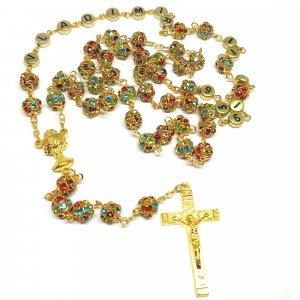 Ruženec s menom s farebnými krištáľmi Excelent