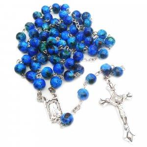 Ruženec s menom modrý korálkový