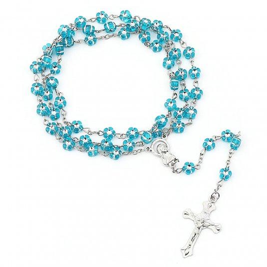 Ruženec s menom modré kvietky s krištálikom