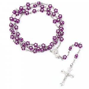 Ruženec s menom fialové kvietky s krištálikom