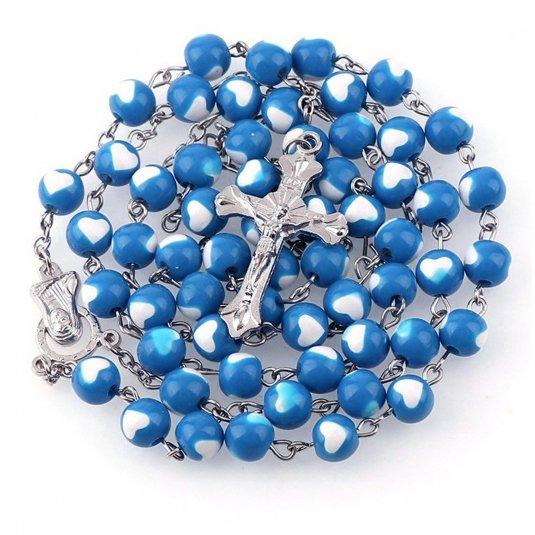 Ruženec modrý s bielymi srdiečkami