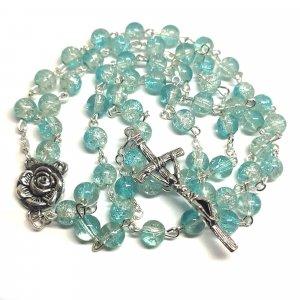 Ruženec s menom bledo modrozelený praskaný krištáľ